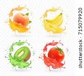 kiwi fruit  banana  tomato ... | Shutterstock .eps vector #715079920