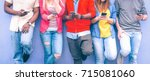teenagers texting mobile phone... | Shutterstock . vector #715081060