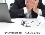 stressed business man covering... | Shutterstock . vector #715081789