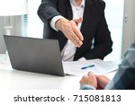 business man offer and give...   Shutterstock . vector #715081813
