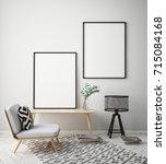 mock up poster frame in hipster ... | Shutterstock . vector #715084168
