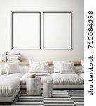 mock up poster frame in... | Shutterstock . vector #715084198