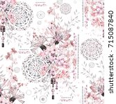 seamless pattern with... | Shutterstock . vector #715087840