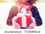 winter holidays  christmas and... | Shutterstock . vector #715089616