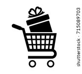 shopping cart icon. gift box in ... | Shutterstock . vector #715089703