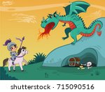 Knight And Dragon Of Vector...