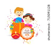 vector illustration of diwali... | Shutterstock .eps vector #715091128