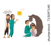 vector falt mental patients set.... | Shutterstock .eps vector #715097140