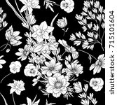 seamless pattern with poppy... | Shutterstock .eps vector #715101604