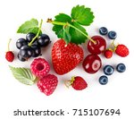 organic berry fruity mix with... | Shutterstock . vector #715107694