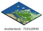 isometric map of europe... | Shutterstock . vector #715110940