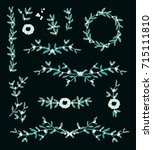 set of vector decorative... | Shutterstock .eps vector #715111810