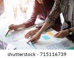 business team adviser analysis... | Shutterstock . vector #715116739