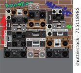 boombox wall with graphite.... | Shutterstock .eps vector #715118983