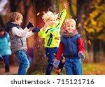 happy friends  schoolchildren...   Shutterstock . vector #715121716