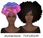 two african american pretty...   Shutterstock .eps vector #715130149