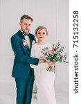 bride in beautiful dress and... | Shutterstock . vector #715132258