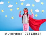 six year blonde girl dressed... | Shutterstock . vector #715138684