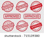 approved rubber stamp set | Shutterstock .eps vector #715139380