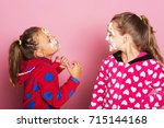 kids pose on pink background.... | Shutterstock . vector #715144168