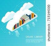 online library file isometric... | Shutterstock .eps vector #715144330