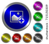 add new image icons on round... | Shutterstock .eps vector #715150309