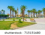 the scenic park with palms in...   Shutterstock . vector #715151680