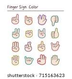 finger sign  color sticker ....   Shutterstock .eps vector #715163623