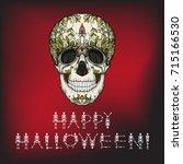 happy halloween banner with...   Shutterstock .eps vector #715166530
