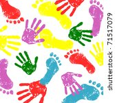 abstract vector hand and foot... | Shutterstock .eps vector #71517079