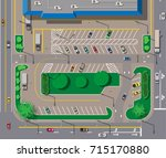 big shopping center or mall and ... | Shutterstock .eps vector #715170880