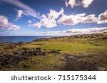 Small photo of Easter Island coast near Ana Te Pahu caves