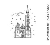 churches of hungary. matthias... | Shutterstock .eps vector #715177300