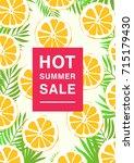 vertical poster on hot summer... | Shutterstock . vector #715179430