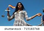 hyderabad february 19 portrait... | Shutterstock . vector #715183768