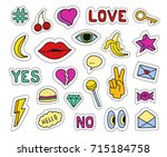 set of fashion patches.... | Shutterstock . vector #715184758