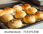 fresh homemade burger buns   Shutterstock . vector #715191358
