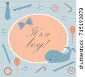 baby boy birth announcement.... | Shutterstock .eps vector #715193878