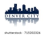 denver skyline silhouette city... | Shutterstock .eps vector #715202326