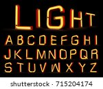 neon light alphabet 3d rendering | Shutterstock . vector #715204174