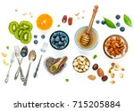 ingredients for a healthy foods ... | Shutterstock . vector #715205884