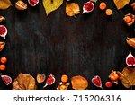 autumn background  leaves ... | Shutterstock . vector #715206316