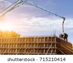 huge concrete pump with tall... | Shutterstock . vector #715210414