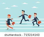 business people running to... | Shutterstock .eps vector #715214143