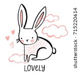 cute bunny illustration with... | Shutterstock .eps vector #715220614