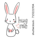 cute hand drawn bunny... | Shutterstock .eps vector #715221934