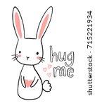 cute hand drawn bunny... | Shutterstock .eps vector #715221934