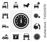 set of 12 editable car icons.... | Shutterstock .eps vector #715224370