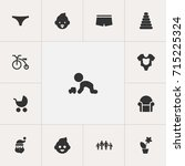 set of 13 editable folks icons. ... | Shutterstock .eps vector #715225324