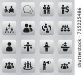 set of 16 editable community... | Shutterstock .eps vector #715225486